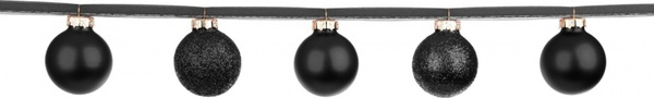 black baubles on a ribbon