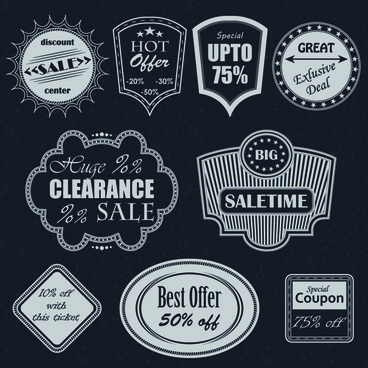 black big sale badges with labels vector