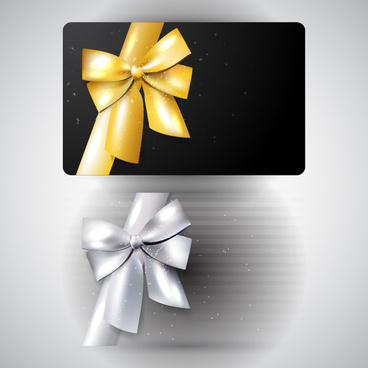 black cards with ornate ribbon bow vector