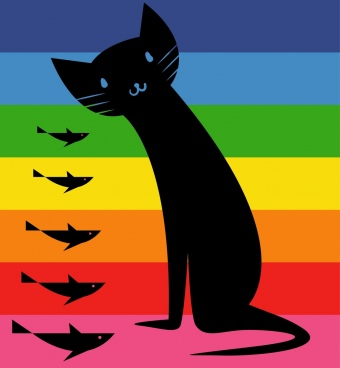 black cat fishes icons design colorful stripes backdrop