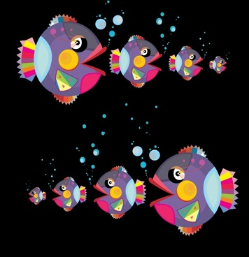 fishes background colorful objects layout funny design