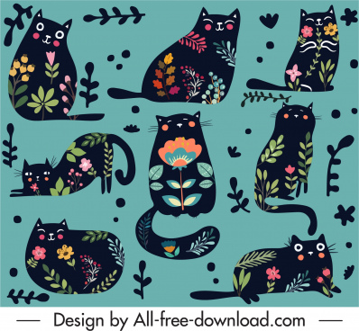 black cats pattern flat design floral decor