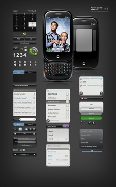 black cool phone ui design psd layered file
