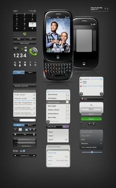 black cool phone ui design psd layered file