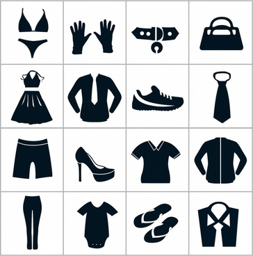 Black Department Store Clothing Icons