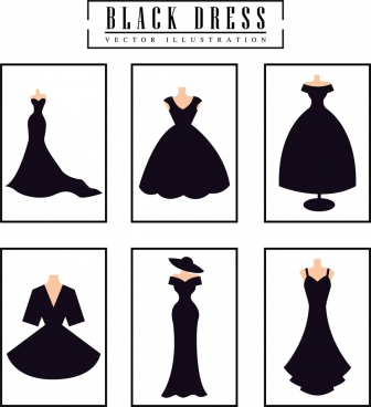 black dresses design collection various flat isolation