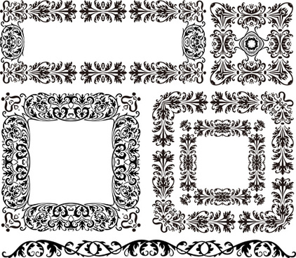 black floral border with frames vector