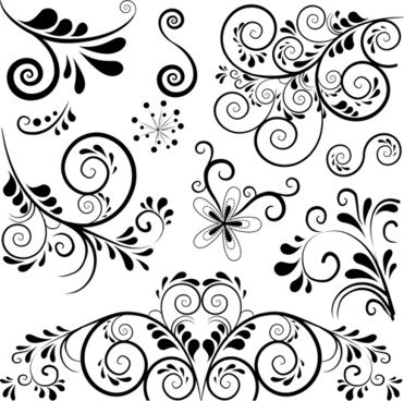 black floral ornament pattern vector