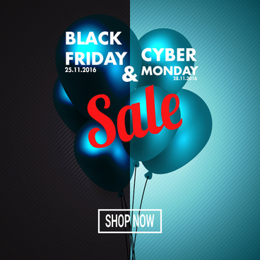 black friday and cyber monday poster dark and bright