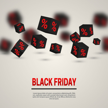 black friday banner 3d cube with percent background