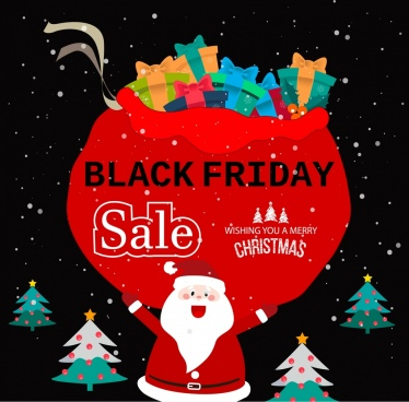 black friday banner christmas symbols decoration