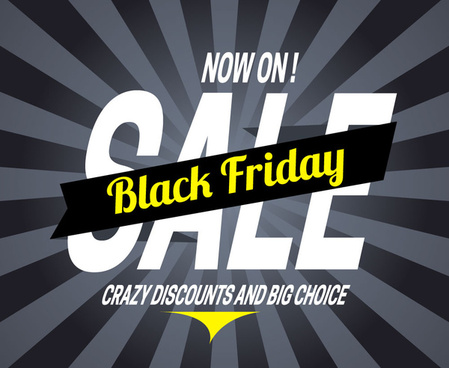 black friday banner design on rays background