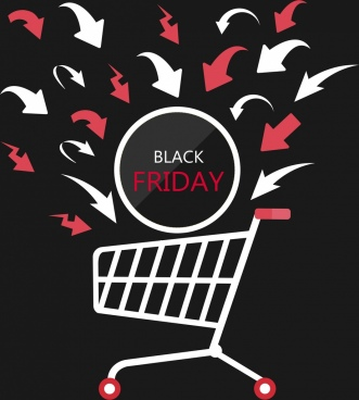 black friday banner flat cart icon arrows decoration