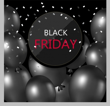 black friday banner grey balloons decoration