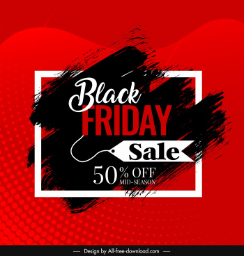black friday banner grunge black red ink decor