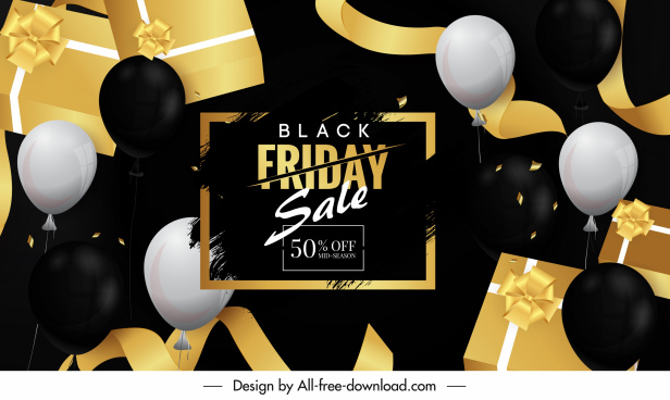 black friday banner modern contrast balloon gifts decor