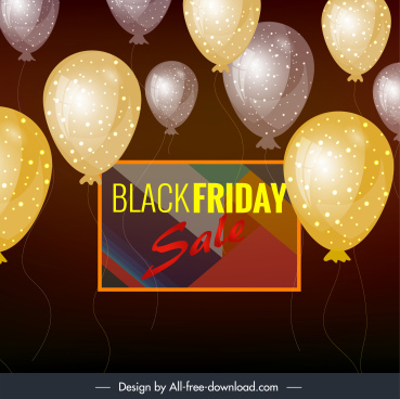 black friday banner sparkling floating balloon modern colorful