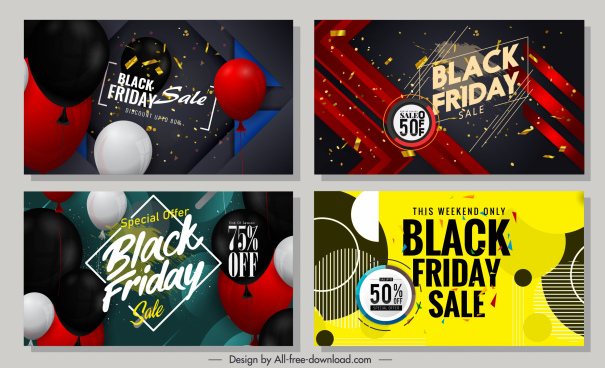 black friday banner templates modern colorful balloons decor