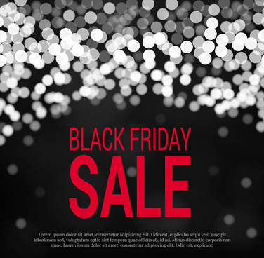 black friday banner with dark blurred sparkle background