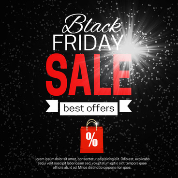 black friday banner with flash on dark background