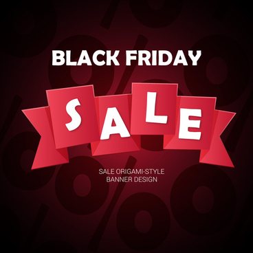 black friday banner with folded ribbon percent background