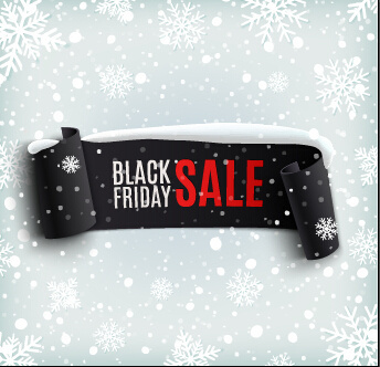 black friday banner with snowflake pattern vector