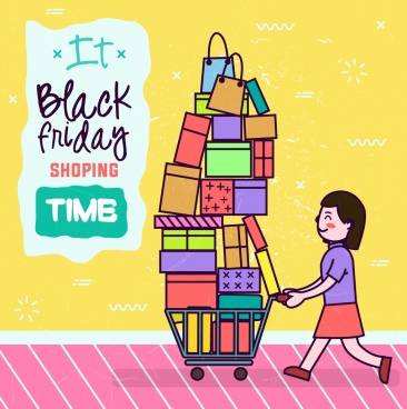 black friday banner woman goods icons colored cartoon