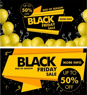 black friday banner yellow black design origami decor