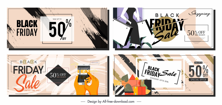 black friday banners classical grunge products decor