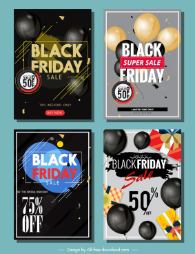 black friday banners elegant balloon decor modern design