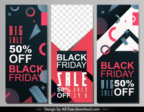 black friday banners templates dark colorful geometric decor