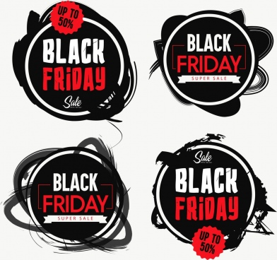black friday labels sets modern dark grunge design