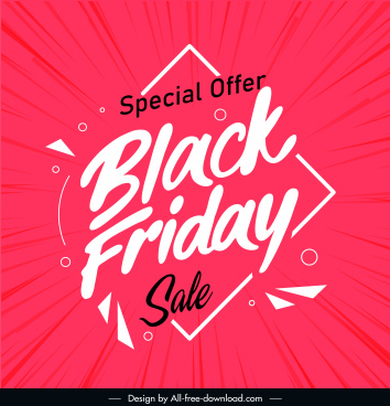 black friday poster dynamic red white texts decor