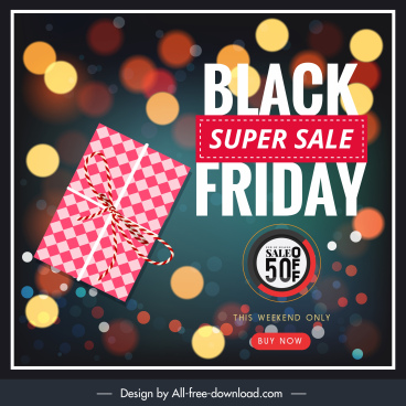 black friday poster modern bokeh light present decor