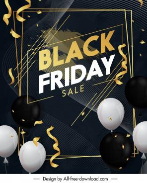 black friday poster modern elegant balloon confetti decor