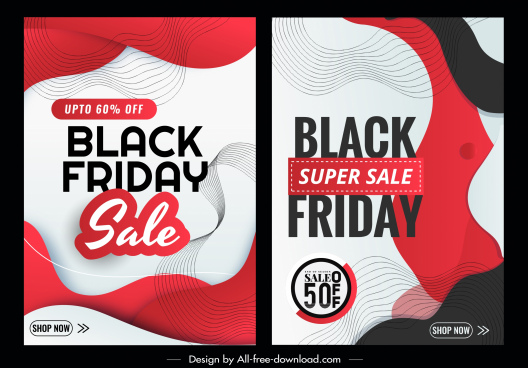 black friday poster templates abstract dynamic curved decor