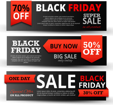 black friday promotion banners on black horizontal design