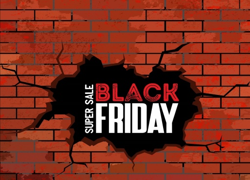 black friday sale banner crack brick wall decor