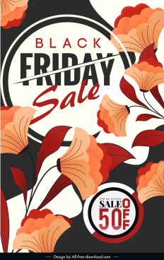 black friday sale banner elegant classical petals decor