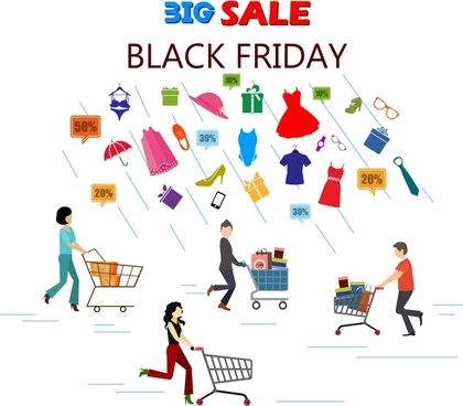 black friday sale banner elements people pushing carts