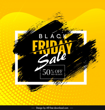 black friday sale banner grunge ink decor