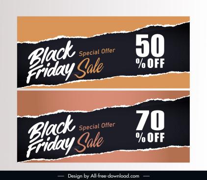 black friday sale banner ragged paper decor
