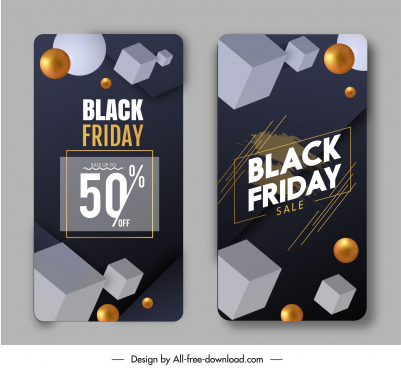 black friday sale poster dynamic 3d geometrical shapes