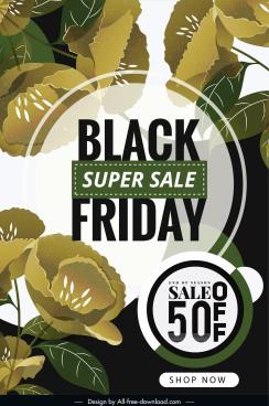 black friday sale poster elegant classic botanical decor
