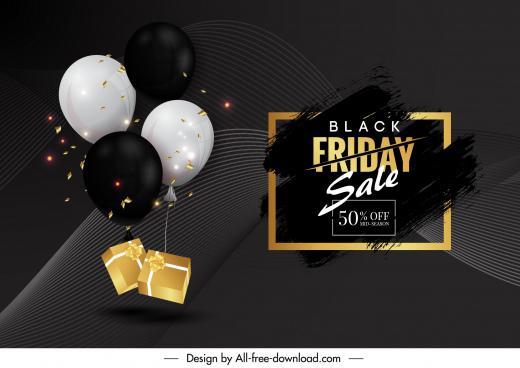 black friday sale poster modern dark balloons gifts