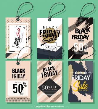 black friday sale tags classic grunge flat decor