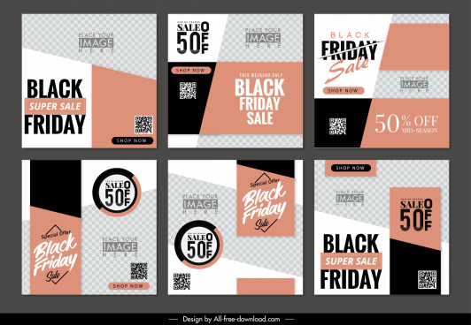black friday sales leaflets modern abstract checkered decor