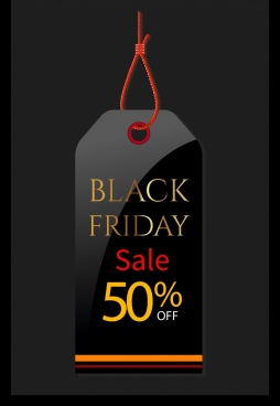 black friday tag template elegant black design
