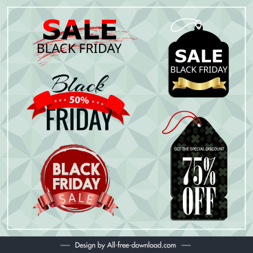 black friday tags templates modern colored texts shapes
