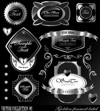 black glass textured label vector set